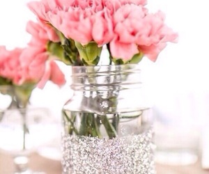 flowers, pink, and glitter image
