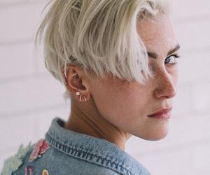 blonde hair, hair, and haircut image
