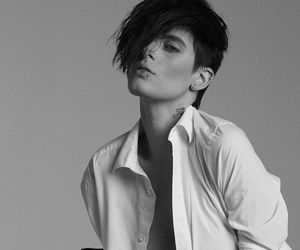 androgynous, black and white, and tomboy image