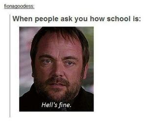 supernatural, crowley, and school image