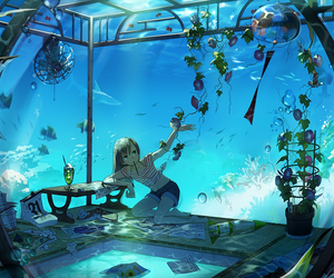 anime, water, and fish image