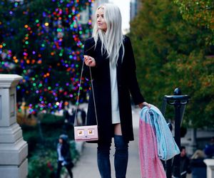 black coat, blogger, and boots image