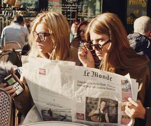 girl, newspaper, and french image