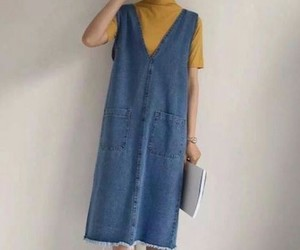 dress, jeans dress, and رانيا ج image