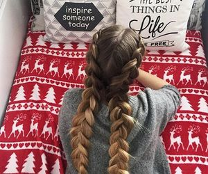 girl, braid, and christmas image