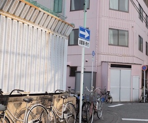 bikes, building, and street image