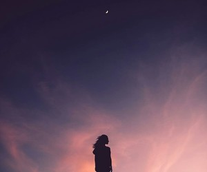 sky, moon, and girl image
