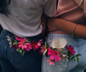 flowers, girl, and jeans image