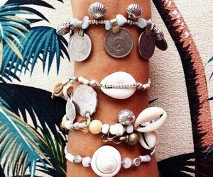 bracelet, shell, and summer image