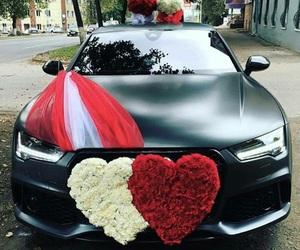 car, rose, and audi image