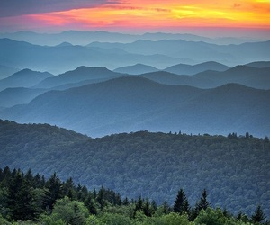 sunset, mountains, and photography image