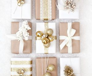christmas, gift, and gold image