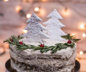 cake, christmas, and pine tree image