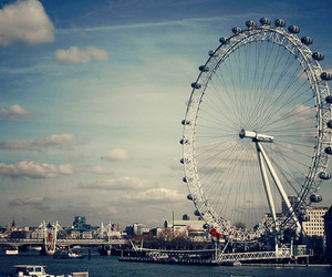 london, sky, and ferris wheel image