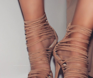 beige, strappy heels, and suede image