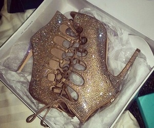 heels, bling, and shoes image