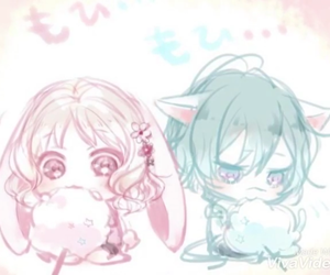chibi, little bunny, and little wolf image