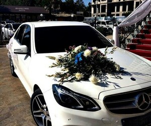 car, flowers, and mercedes image