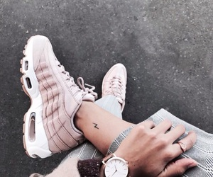 girl, pink, and sneakers image