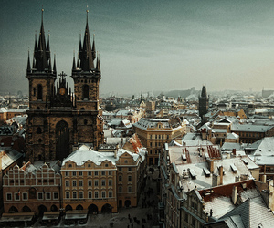 prague, city, and snow image