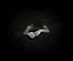 black and white, dark, and water image