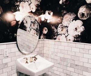 flowers, bathroom, and interior image