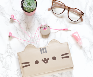 pusheen, cat, and pink image