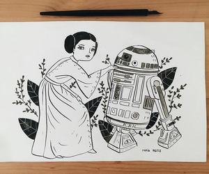 art, star wars, and black and white image