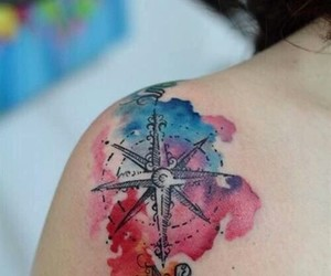 tattoo, compass, and shoulder image