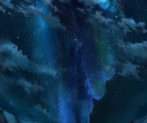 anime, aurora, and mountains image