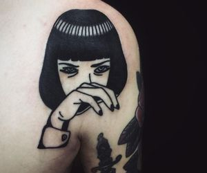 tattoo, pulp fiction, and black image