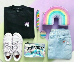 unicorn, outfit, and rainbow image