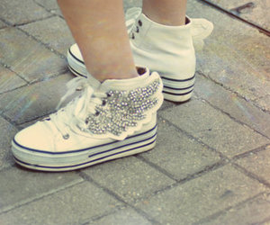 boy, girl, and shoes image