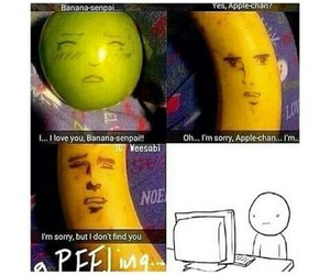 funny, apple, and banana image