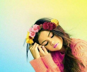 flowers, selena gomez, and pink image