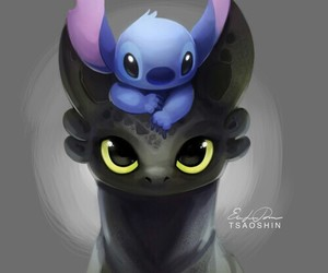 stitch, dragon, and toothless image