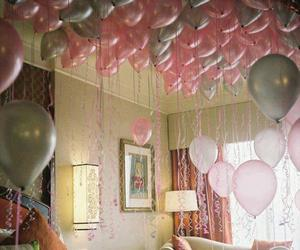 balloons, pink, and room image