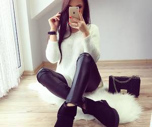 fashion, outfit, and brunette image