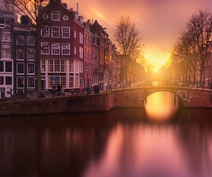 city, sunset, and travel image