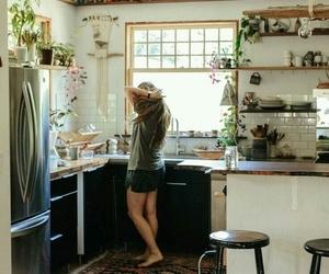 girl, kitchen, and home image