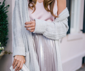 cardigan, metallic skirt, and pleated skirt image