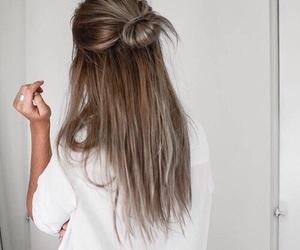 hair, hair style, and half up bun image