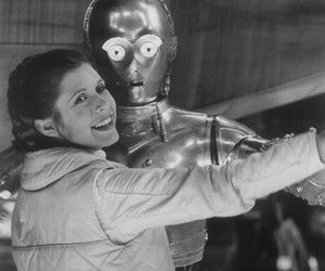 star wars, carrie fisher, and c3po image