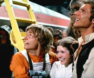 carrie fisher, luke skywalker, and mark hamill image