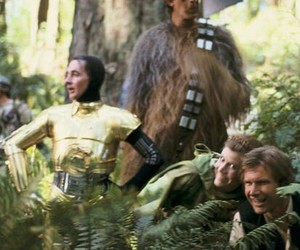 c3po, carrie fisher, and han solo image