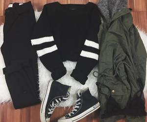 black, jacket, and converse image
