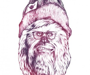 hipster, chewbacca, and star wars image