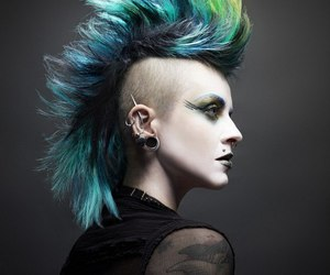 died hair and piercing image