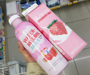 pink, milk, and food image