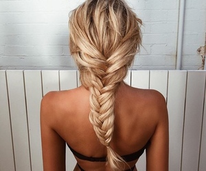 blonde hair, braids, and pretty image